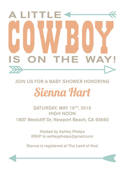 baby shower invitations - Baby Cowboy by Kristin Finch