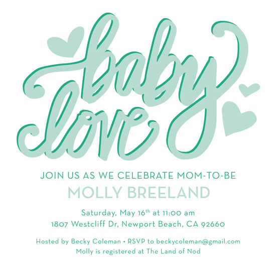 baby shower invitations - Baby Love Handlettering by Kristin Finch