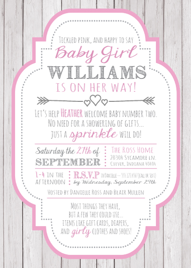 baby shower invitations - Tickled Pink Sprinkle by Jessica Gordon