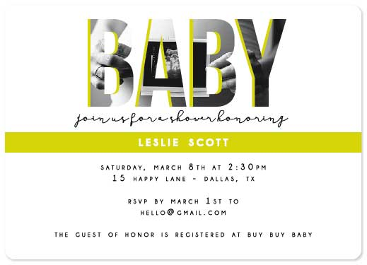 baby shower invitations - Neon Baby by Ally MacWilliams