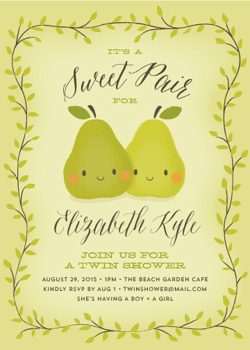 baby shower invitations - sweet pair by Guess What Design Studio