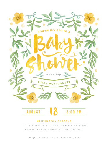 baby shower invitations - Watercolor Garden by Smudge Design