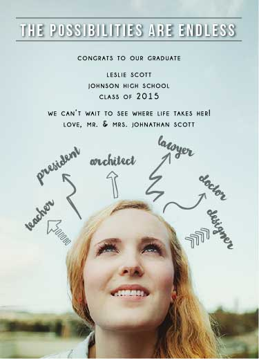 graduation announcements - The Possibilities are Endless by Ally MacWilliams