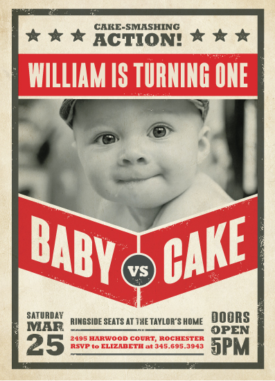 party invitations - baby vs. cake by Susan Asbill