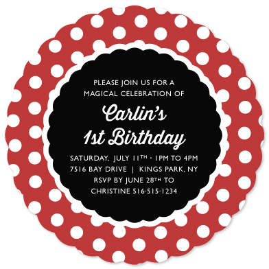 party invitations - Miss Mouse Polka Dot Themed by Melissa Casey