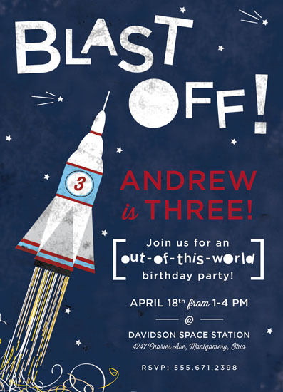 party invitations - Blast into Space by Peppermill Creative