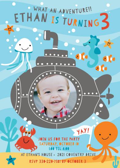 party invitations - Submarine Adventure by Michelle Rimpf