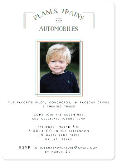 party invitations - Planes, Trains, & Automobiles by Ally MacWilliams