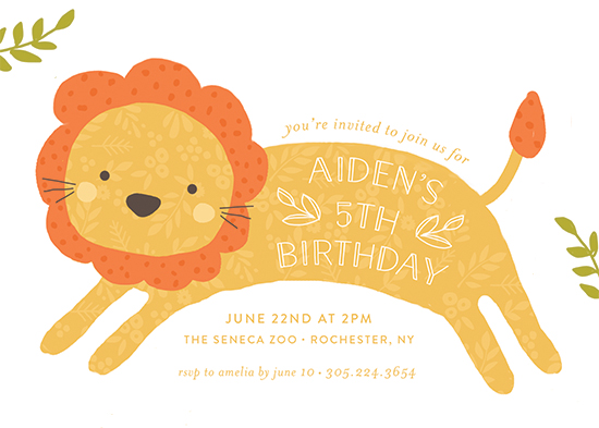 party invitations - Jumping Lion by August and Oak
