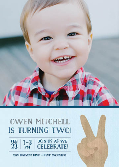 party invitations - Two Years, Two Fingers by Lisa M