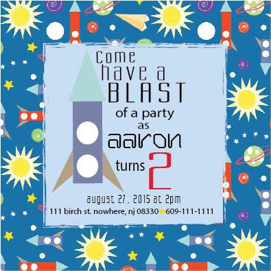 party invitations - Blast Off Birthday by Cathleen Bronsky