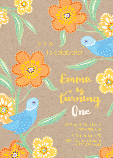 party invitations - Birds on a Peach Tree by Alex Colombo