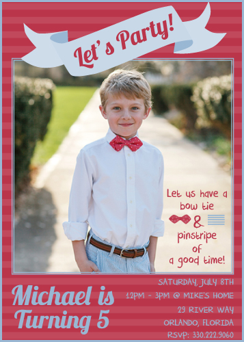 party invitations - Let's Party with bow ties and Pinstripes by Nicole Ross