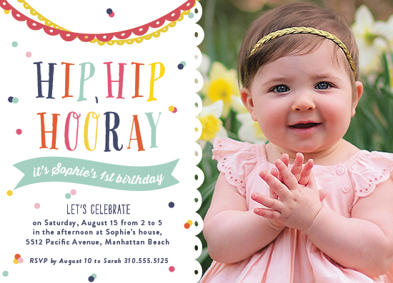 party invitations - Hip, Hip, Hooray! by Shirley Lin Schneider