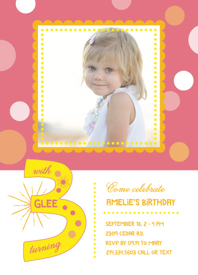 party invitations - With glee turning three by Anja Jankowsky