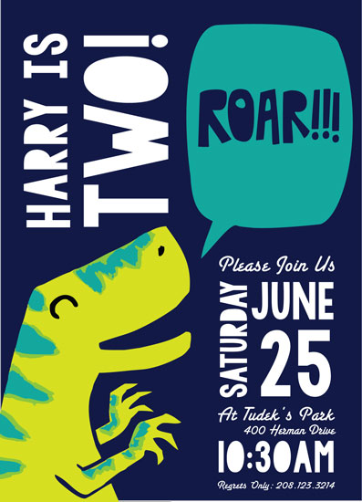 party invitations - Roar by Patricia Wallace