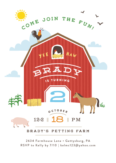 party invitations - Big red barn by Jennifer Wick