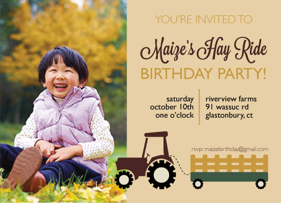 party invitations - HayRide Birthday Party by Tanner Clark