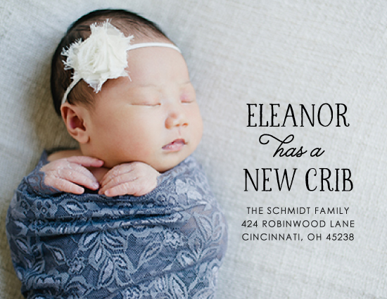 moving announcements - Baby has a New Crib by Kim Dietrich Elam