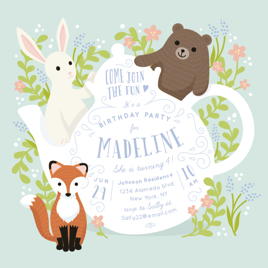 party invitations - Tea Party with Animals by Four Wet Feet Studio