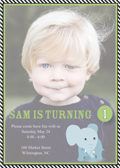 party invitations - Green Elephant Balloon by Susan Teachey