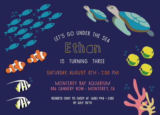 party invitations - Under the Sea Adventure by Rosewater Designs