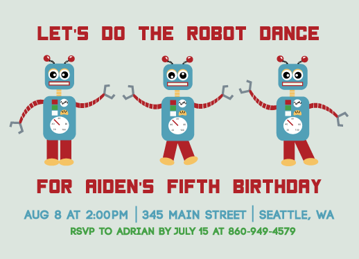 party invitations - Robot Dance by Rosewater Designs