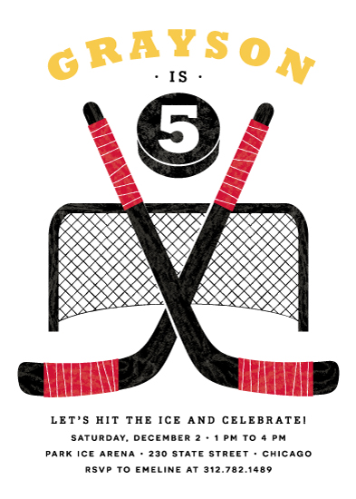 Party Invitations Hockey Birthday