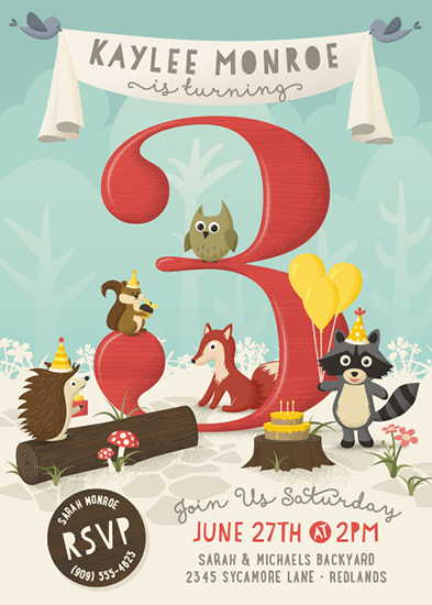 party invitations - Woodland Party by GeekInk Design