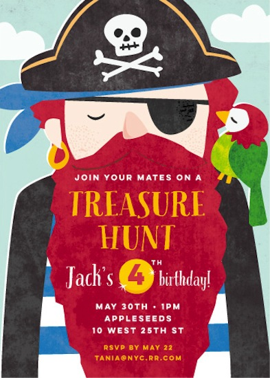party invitations - pirate booty by peetie design
