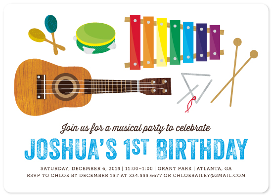 party invitations - musical instruments by Kelly Nasuta