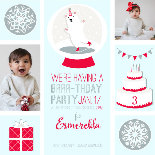party invitations - Happy Brrr-thday by Darcy Terry