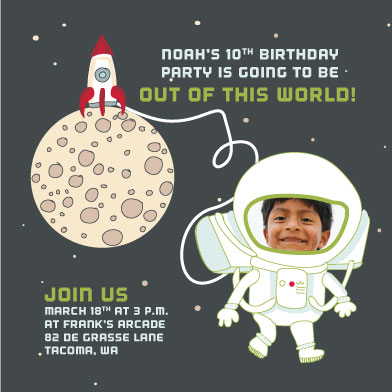 party invitations - Rocket Man by Darcy Terry