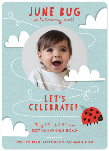 party invitations - Ladybug and Clouds by Jayne Swallow