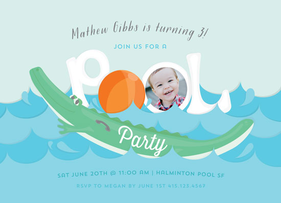 party invitations - Alligator Pool party by andrea espinosa