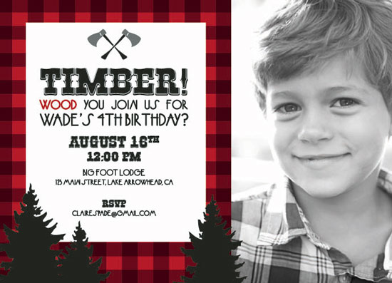 party invitations - Lumberjack by Kristin Finch