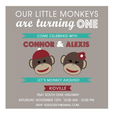 party invitations - Sock Monkey'ing Around by Kelly de Godoy