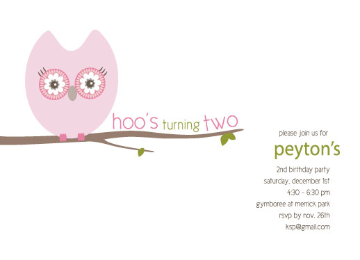 party invitations - Hoo's Turning Two by Kelly de Godoy