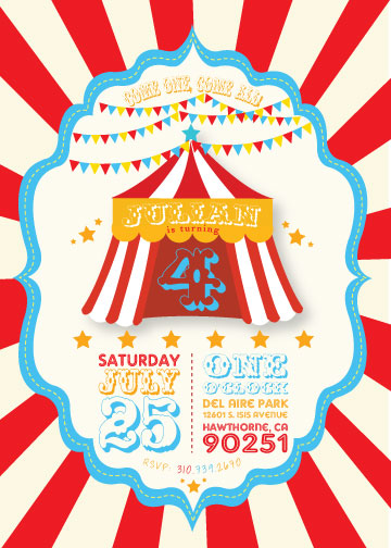 party invitations - Circus time by Celene Mendez