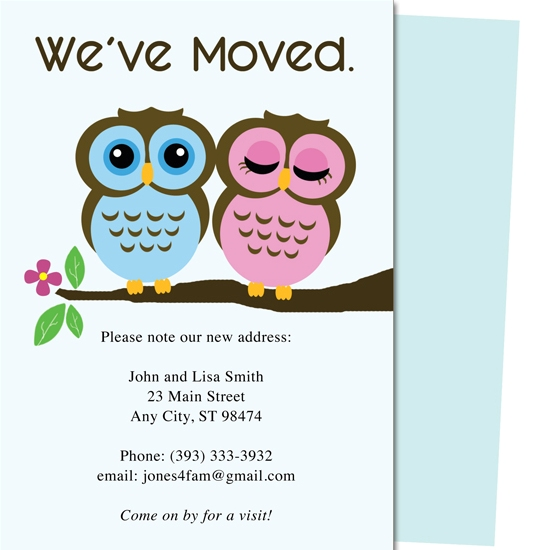moving announcements - Owls Moving Announcement Card Template by Adam Smith