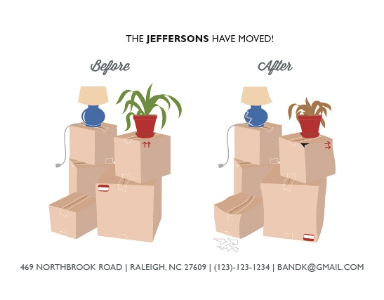 moving announcements - Before Moving, After Moving by Flowerbox Greetings