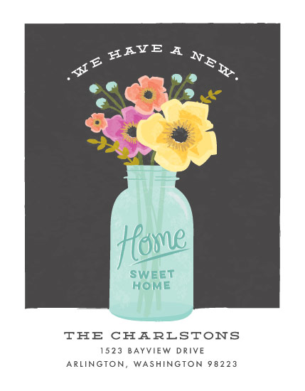 moving announcements - mason jar bouquet by Karidy Walker