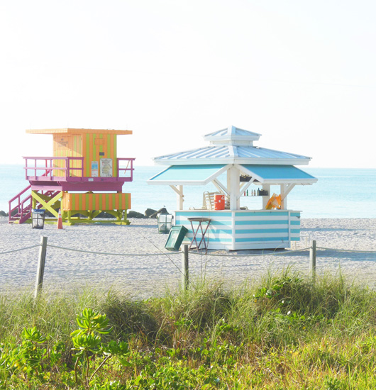 art prints - Miami Beach Huts by Annie Seaton