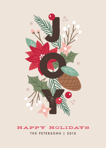 non-photo holiday cards - Floral Joy by Amber Barkley