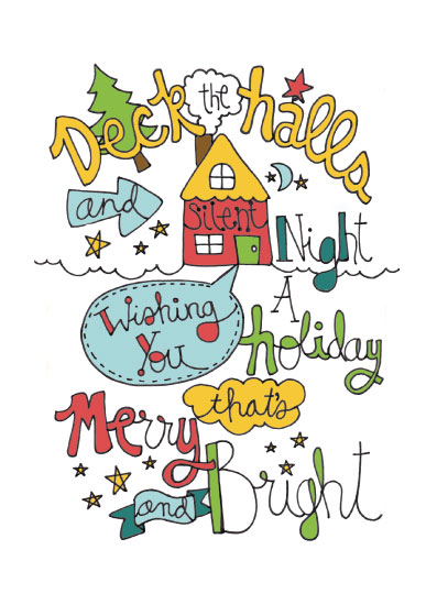 non-photo holiday cards - Merry & Bright by Mandy Ford