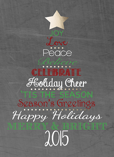 non-photo holiday cards - Chalkboard Holiday Tree by KAD Designs