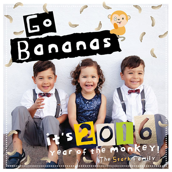 new year's cards - Go Bananas It's Monkey Year by Juju Sprinkles