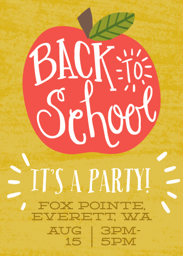 digital invitations - Back to School Apple by Katie Jarman