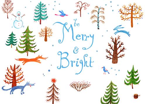 non-photo holiday cards - Be Merry and Bright ! by Veronika Seleznova