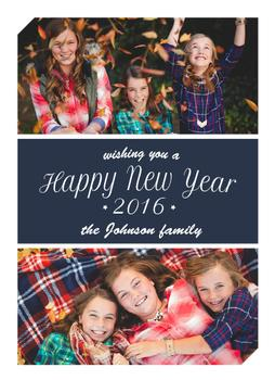 Three sections Happy New Year card